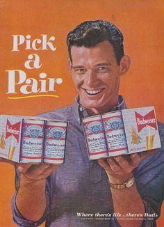 1962 Budweiser Beer Ad Pick A Pair Cans Retro 60s Man Photo Vintage Advertisement Bar Wall Art Decor