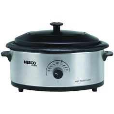NESCO 4816-25PR 6-Quart Stainless Steel Roaster Oven with Porcelain Cookwell