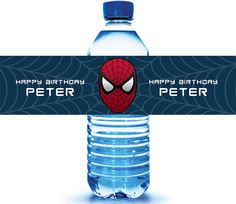 24 - Spiderman Birthday Water Bottle Labels - 1st Birthday Water Bottle Label - Personalized Water Bottle on Etsy, $16.70 CAD