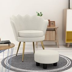 Take a stroll to tranquil waves Scalloped Edge Velvet Armchair. Scalloped seashell edges and vertical channel tufting create artful elegance in your living room, lounge room, entryway, bedroom, or other seating areas. Showcasing an organic barrel back design, Admire comes with a generously padded round seat for plush comfort. #armchair #vetvetchair #chair #livingroomfurniture Living Room Decor Furniture, Home Decor Bedding, Living Room Interior, Fabric Armchairs, Modern Armchair, Modern Sofa, Sofa Bed Home, Gray Vanity, Old Cottage
