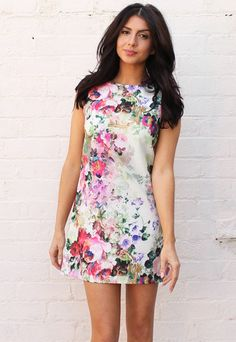 Floral Garden Print Sleeveless Mini Shift Dress in Multi