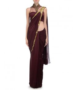 Wine Sari with Embellished Pleated Pallu - Gaurav Gupta - Designers