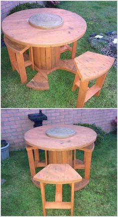 cable spool tables 30 DIY Pallet Outdoor Furniture You Need to See, Diy Cable Spool Table, Wood Spool Tables, Wooden Cable Spools, Cable Spool Ideas, Cable Reel Table, Wooden Cable Reel, Wire Spool, Wood Spool Furniture, Pallet Deck Furniture