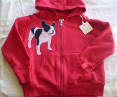 kids applique hoodie infant zip front sweatshirt french bulldog size 5/6. $25.00, via Etsy.