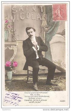 """Carte Postale Ancienne """"L'homme à la moustache"""" 1907 France."""