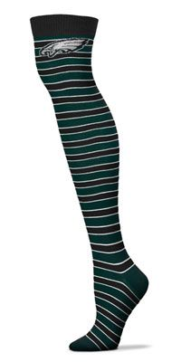 Philadelphia Eagles Women's Striped Thigh High Socks