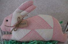 Primitive Vintage Quilt Easter Bunny Pillow Tuck Shelf Sitter Handsewn Quilt  #NaivePrimitive #auntiemeowsatticprims