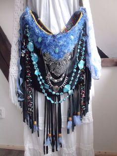 Handmade OOAK Boho Black&Turquoise Gypsy Hippie Fringe Feathers Jewelry Handbag #Handmade #ShoulderBag