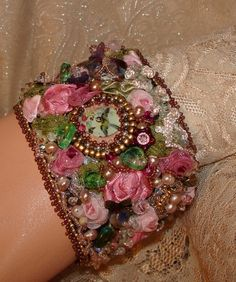 Ribbon and Bead embroidered Victoria cuff bracelet--just sweet