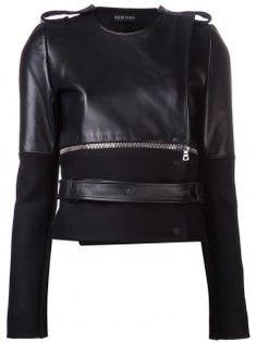 Dividido Zip jaqueta de Couro