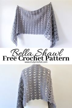 Make this beautiful lacy shawl with a lovely easy shell design. This is such a great easy project to do with any spare time you have and it will work up in no time. Prayer Shawl Crochet Pattern, Prayer Shawl Patterns, Crochet Prayer Shawls, Crochet Wrap Pattern, Crochet Shawl Free, Crochet Shawls And Wraps, Crochet Scarves, Crochet Clothes, Knit Crochet