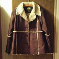 Faux shearling coat, snuggly, machine washable Chic women's western style chocolate-brown winter coat with acrylic shearling lining. Super soft and warm. Excellent used condition. RePoshing. Cabela's Jackets & Coats