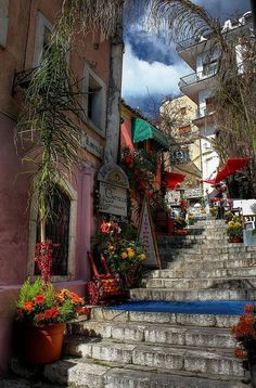 Romeo and Juliet's stairs, Taormina, Italy Messina