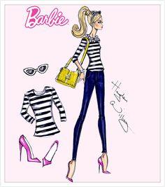 #Hayden Williams Fashion Illustrations #Barbie Style by Hayden Williams Stylish Stripes
