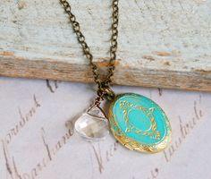 Christa. shabby chic crystal locket  charm by tiedupmemories, $17.50