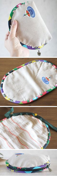 """Dumpling"" type Pouch / Cosmetic Zipper Bag.  DIY Tutorial in Pictures.  http://www.handmadiya.com/2015/10/dumpling-zip-pouch-tutorial_14.html"