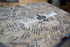 Wedding Sign Guest Book Alternative Hand Painted Fleur De Li Design, Wedding…