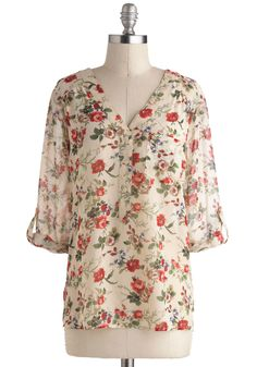Garden Sheers Top - Sheer, Mid-length, Cream, Red, Green, Floral, Buttons, Epaulets, Pockets, 3/4 Sleeve, Casual