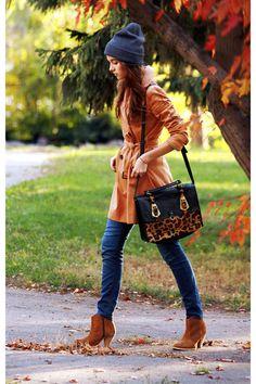 Camel ASOS boots + mustard asos coat + navy hat + leopard bag via www.chictopia.com - love the hat!