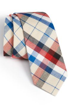 Noteworthy: Red, White and Blue Plaid Necktie by Public Opinion at Nordstrom