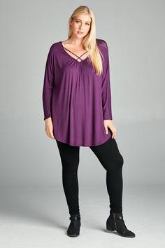 Kelly Brett Boutique - Plus Size Serendipity Top Violet, $32.00 (https://www.kellybrettboutique.com/plus-size-serendipity-top-violet/)