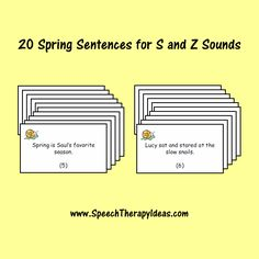 It's finally spring! Celebrate it with new printable materials for your therapy sessions. The sentence cards linked below are great for working on /s/ and /z/ Speech Pathology, Speech Language Pathology, Speech And Language, Speech Therapy, Easter Activities, Spring Activities, Therapy Activities, Therapy Ideas, Apraxia