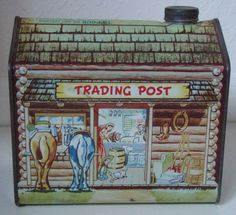 """LOG CABIN SYRUP ADVERTISING TIN """" TRADING POST """" NEAR MINT WITH CAP AND COLOR"""