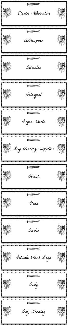 PRINTABLE LABELS Laundry Room