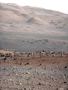 Base of Mount Sharp, Mars. It was taken on Aug. 23, 2012, and looks south-southwest from the rover's landing site; photo from Mars Science Laboratory