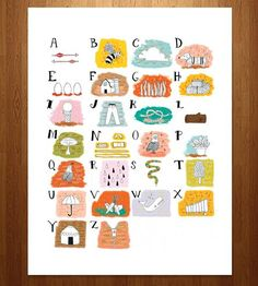 Illustrated ABC's Art Print by Jennifer Reynolds on Scoutmob Shoppe