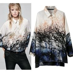 Shirt Blouse Tops Chiffon 3/4 Sleeve Women's Scenery Print Collar Casual ItS7 in Clothes, Shoes & Accessories, Women's Clothing, Tops & Shirts | eBay