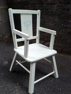Cute pale green kids chair with bird detail :)