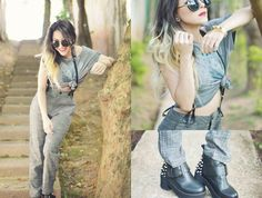 Oasap Pants, Levi's Flag Tee, Oasap Round Retro Sunglasses, Romwe Boots With Spikes