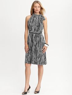 Banana Republic | Striped tie-neck dress. Better looking in person than the picture.