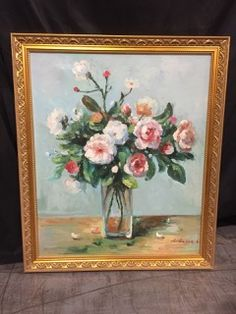 OIL ON CANVAS STILL LIFE PAINTING OF A VASE FILLED WITH LUSH BLOOMS AND GREENS. SIGNED CHARLES IN THE LOWER RIGHT, IT IS SET IN A 23X27 INCH GILT FRAME. 27H X 23W