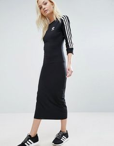 adidas Originals Black Three Stripe Midi Dress