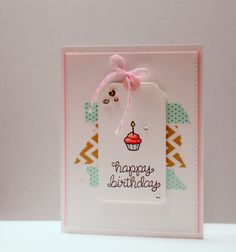 Happy Birthday Card - Lawn Fawn stamps and washi tape