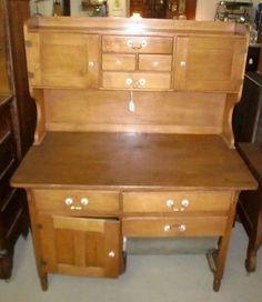 Antique Old Finish Maple Possum Belly Bakeru0027s Cabinet Cupboard