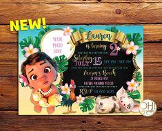 Moana Invitation Moana birthday invitation with photomoana