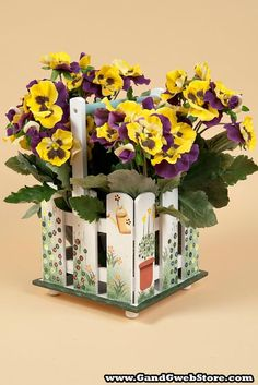 """10"""" X 6.25"""" SQUARE WOOD PLANTER W/HANDLE WHITE - Gandgwebstore.com Wood Planters, Cute Bunny, Bright Colors, Handle, Easter, Wedding Ideas, Table Decorations, Country, Spring"""