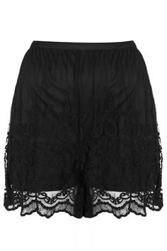 Black Lace Embroidered Shorts
