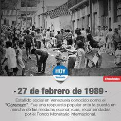 #TalDiaComoHoy Se produce la rebelión popular conocida como El Caracazo, la cual es considerada la primera insurrección que se dio en América Latina contra las políticas neoliberales aplicadas por el Fondo Monetario Internacional (FMI).