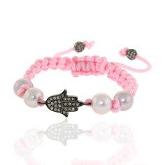 Designer Diamond Hamsa charm 925 Sterling Silver Natural Pearl Pink Macrame Friendship Day Fashion Bracelet