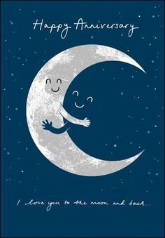 Happy Anniversary Card (5942) - Over The Moon - I Love You To The Moon & Back: Amazon.co.uk: Office Products