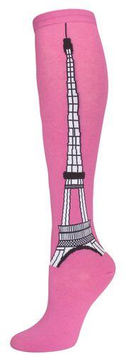 Rose Eiffel Tower Knee Socks