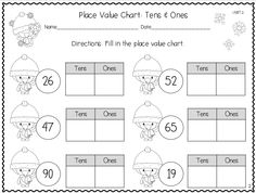 Winter themed place value handouts, tens and ones.  First grade Common Core standard 1.NBT.2