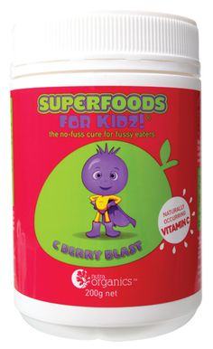C Berry Blast was design to give kids a concentrated high antioxidant blend of 6 super fruits fortified with 4 wild harvest plants worldrenowned for there high natural Vitamin C content. Ingredients include freeze dried Mango, Acai Berry, Blue Berry, Raspberry, Black Berry, Goji Berry and Cranberry. Vitamin C ingredients are Seabuckthorn, Rosehips, CamuCamu, and Kakadu Plumb.