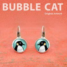 Penguin Earrings, Cute Penguin Earrings, Leverback earrings
