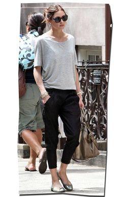 Olivia Palermo // Short Sleeve Top + Harem Pants