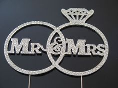 Mr And Mrs Wedding Cake Topper Decoration Diamonte Bling Rhinestones